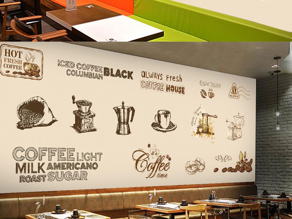 手绘咖啡店背景墙(图片编号:15943493)