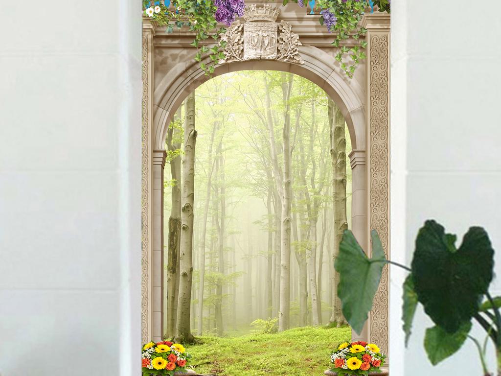 森林玄关背景墙过道走廊背景墙壁画