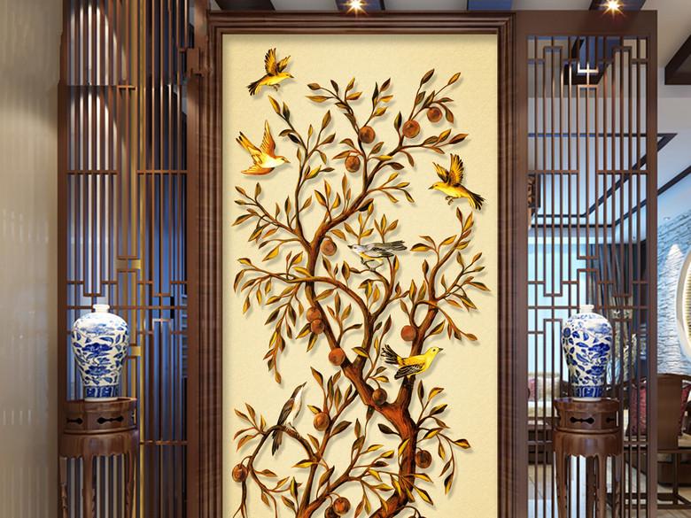发财树黄金树玄关背景墙