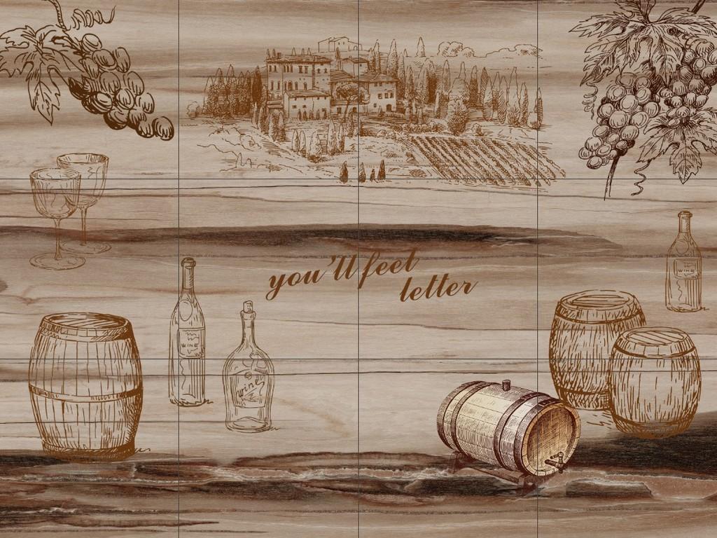 手绘背景墙砖墙红酒复古砖墙洋酒木板背景葡萄酒背景酒庄背景酒庄效果