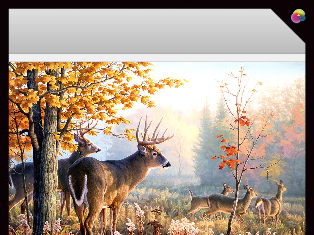 背景墙|装饰画 电视背景墙 手绘电视背景墙 > 金秋树林梦幻森林麋鹿