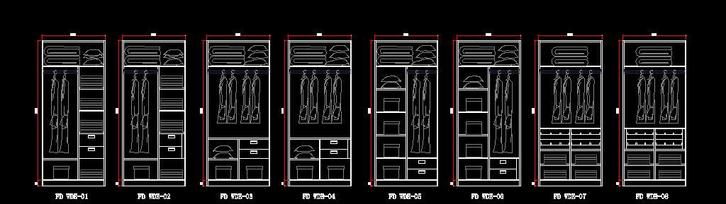 cad图库 室内设计cad图库 cad图纸 > 衣柜柜体内部结构标准图库