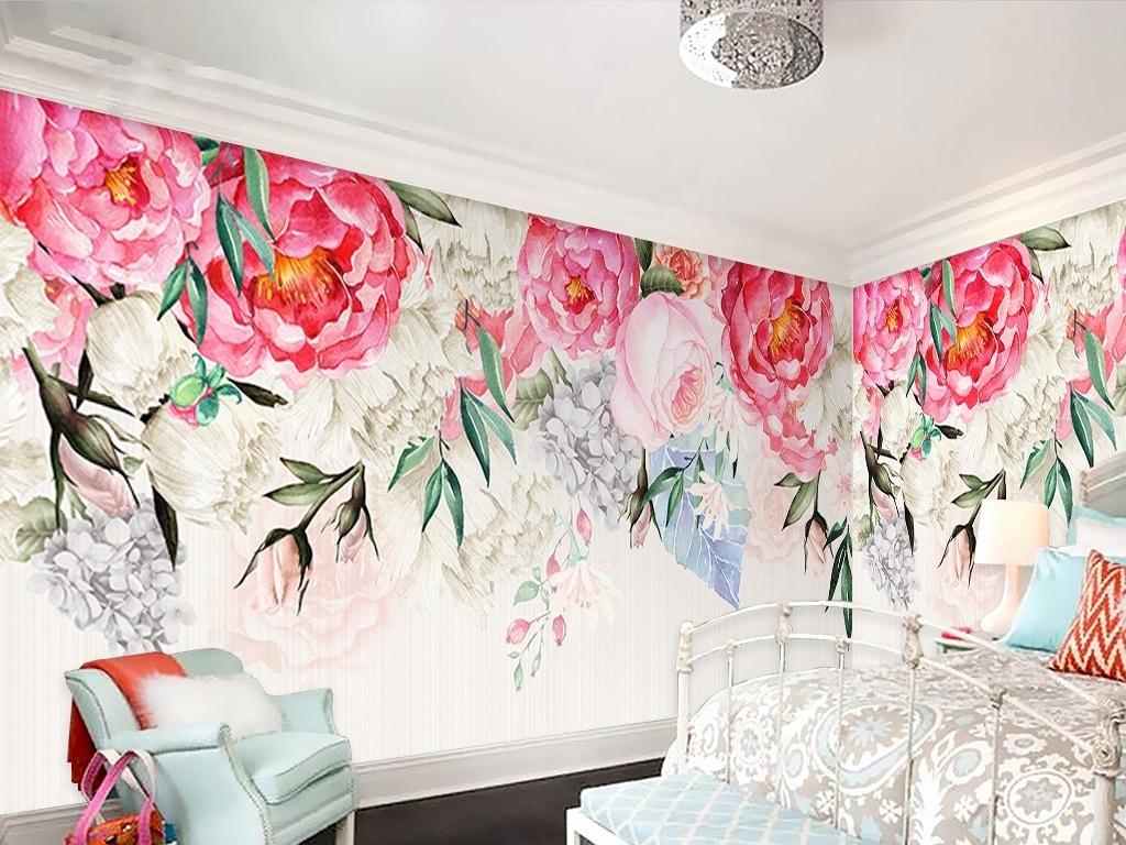 北欧玫瑰复古手绘背景墙