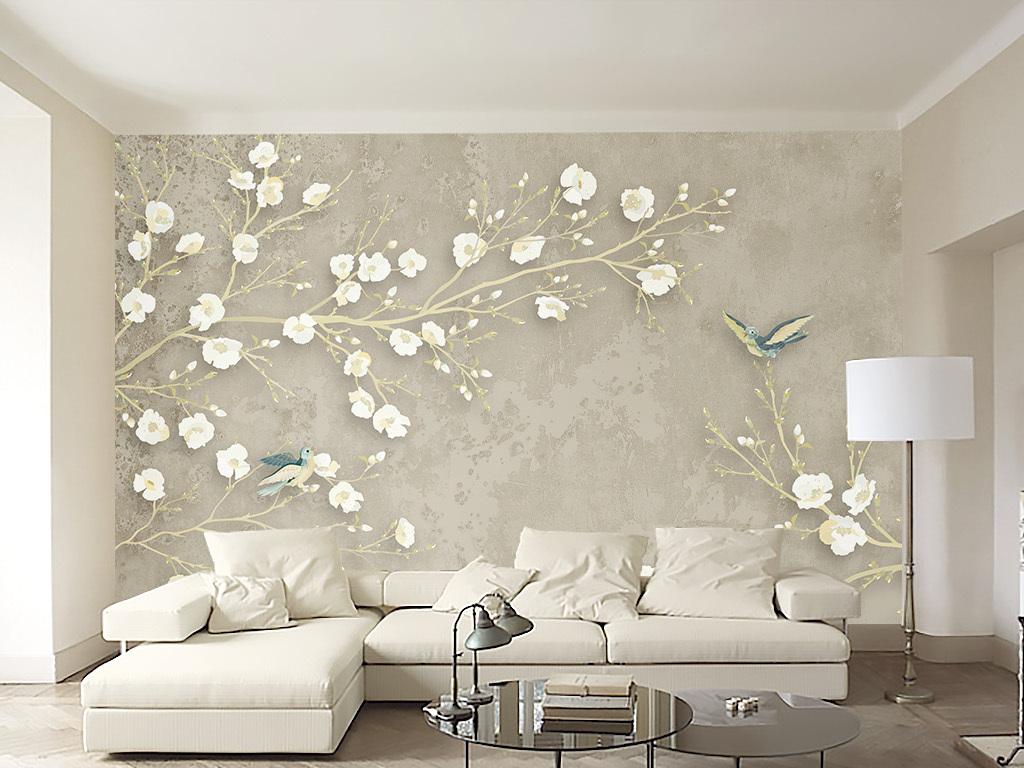 壁畫裝飾畫無框畫瓷磚畫室內設計裝修效果圖米黃色墻紙花鳥畫客廳背景