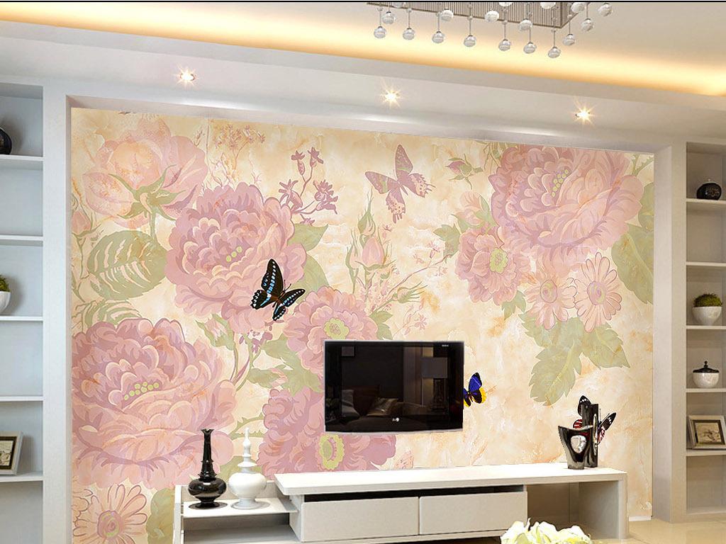 大理石欧式花纹花卉电视背景墙(图片编号:15944581)