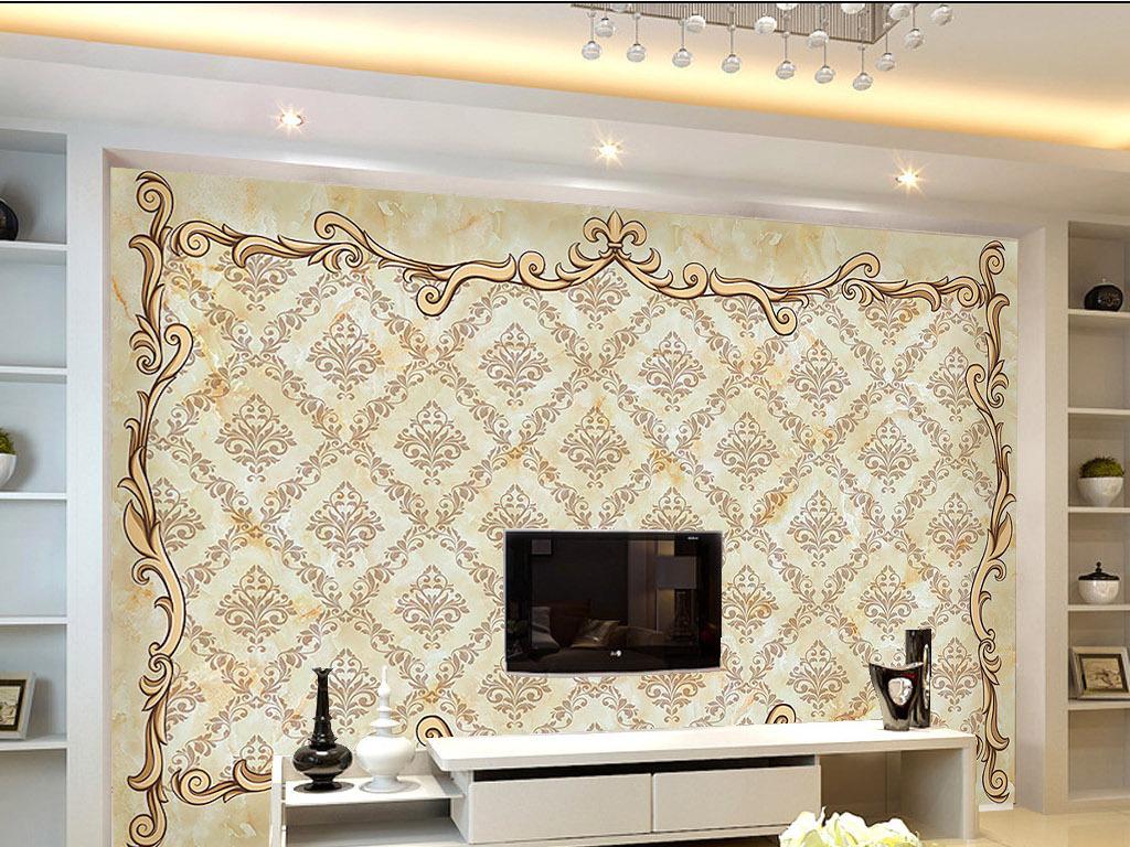 大理石欧式花纹边框电视背景墙