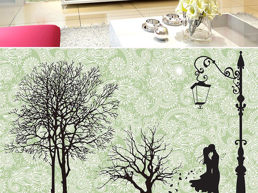 手绘图手绘花纹装饰画手绘路灯无框画简约简约现代