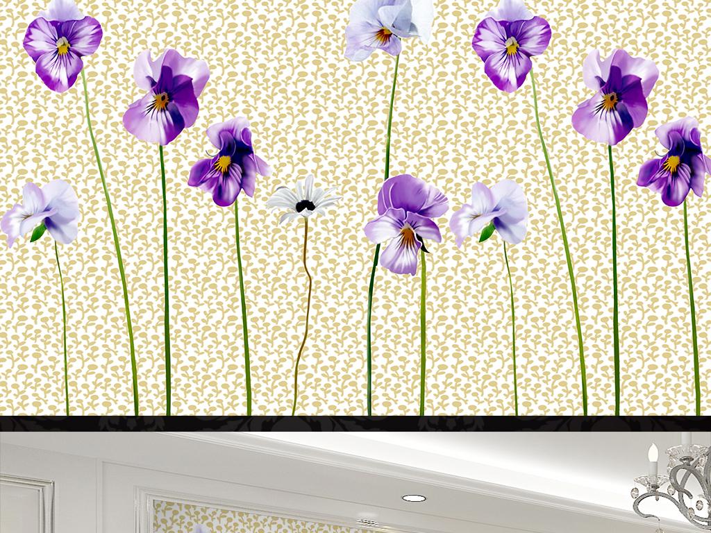 手绘花朵简约装饰画背景墙