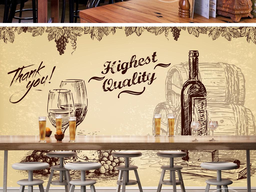 酒吧背景墙ktv背景墙世界地图橡木桶红酒