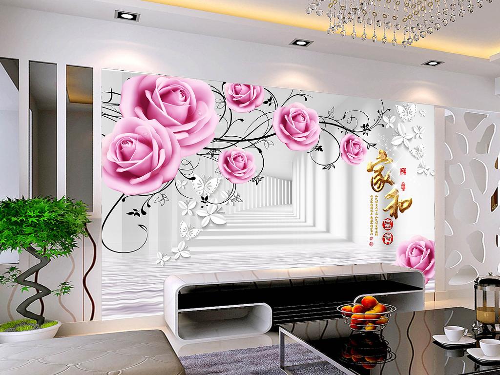 3d空间走廊玫瑰花藤背景墙壁画图片