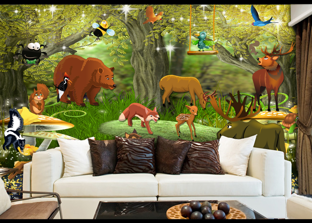 精品流行森林总动员动物王国卡通儿童房壁画素材下载