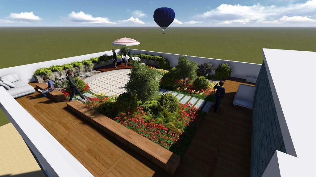 lumion校园文化屋顶花园景观3d效果