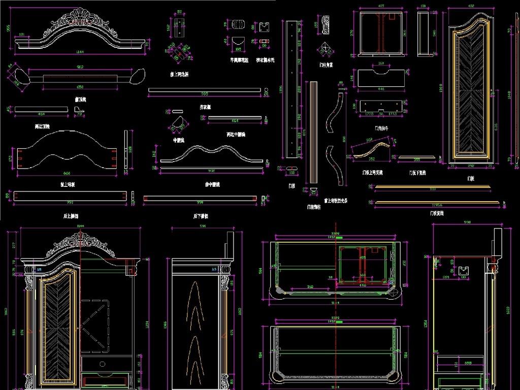 实木床欧式酒柜cad家具图欧式橱柜cad中式家具cad图纸欧式屏风cad中式