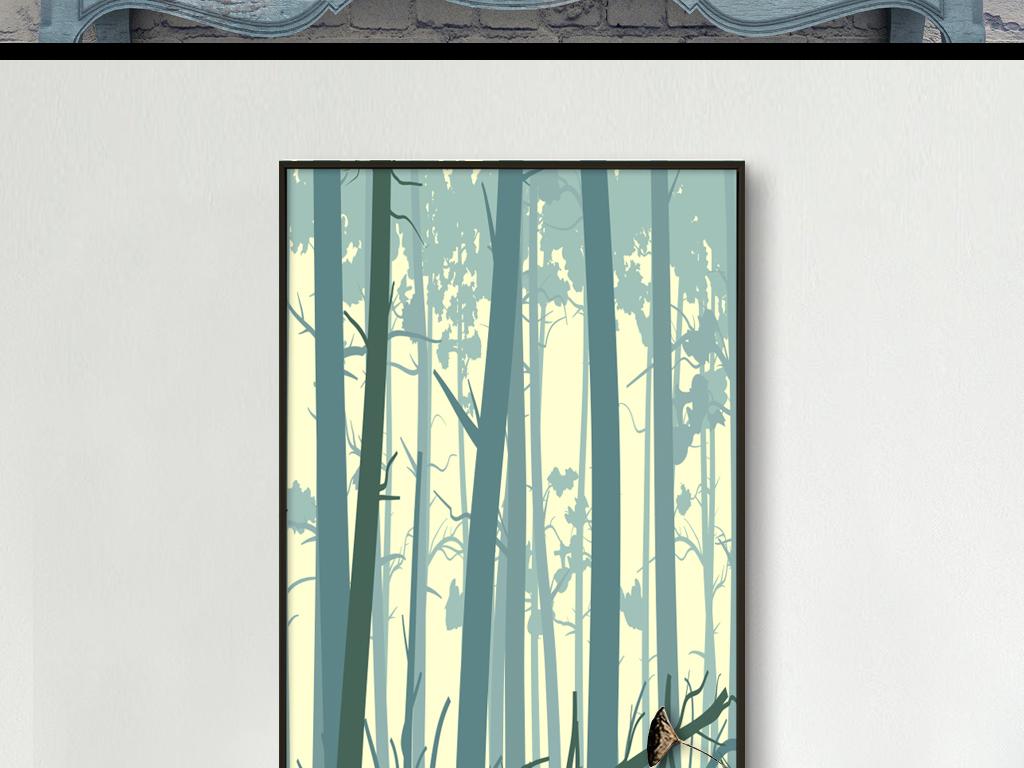 画手绘卡通装饰画手绘床头画小鹿树林树林装饰画无框画宾馆抽象树林
