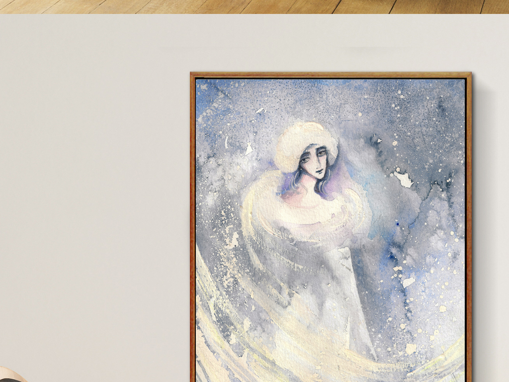 冬天人物肖像人物手绘抽象美女人物冬季抽象人物抽象美女装饰画抽象