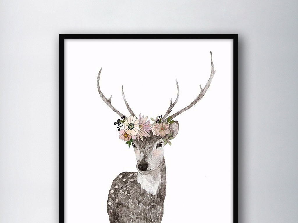 头戴花环的梅花鹿北欧现代简约欧式装饰画图片