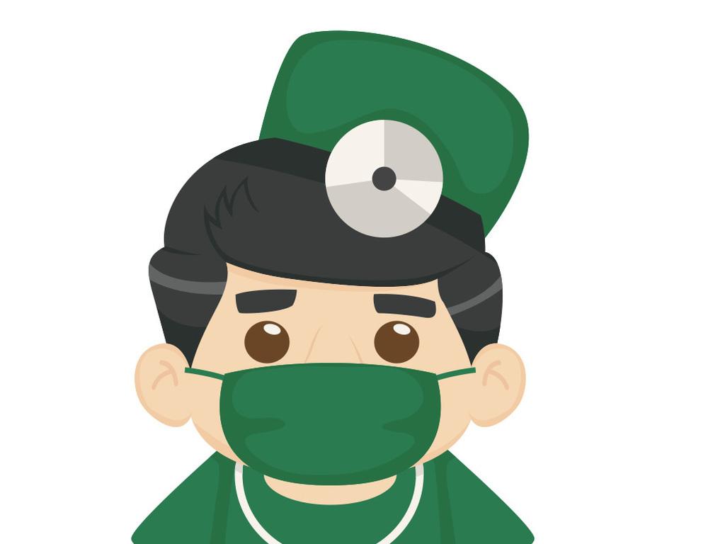 医院卡通戴口罩的值班医生