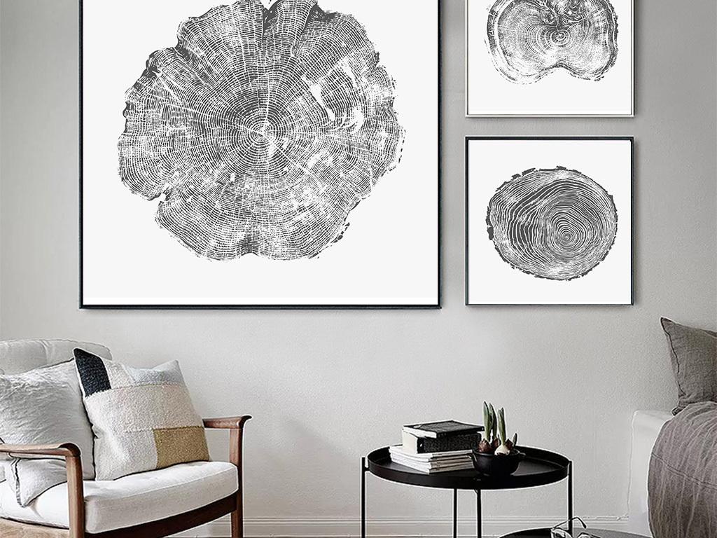 北欧简约抽象木纹年轮抽象无框画图片