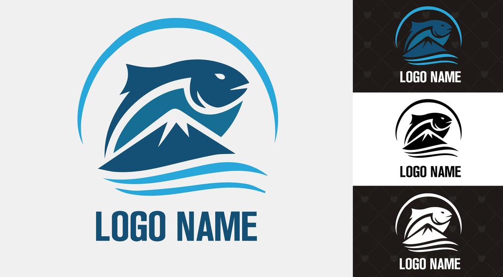 蓝色水产渔业海产钓鱼渔具鱼具logo