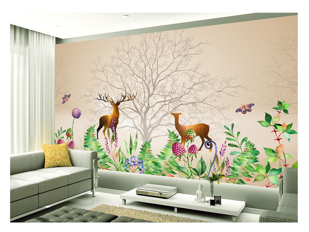 手绘水彩树叶唯美麋鹿背景墙