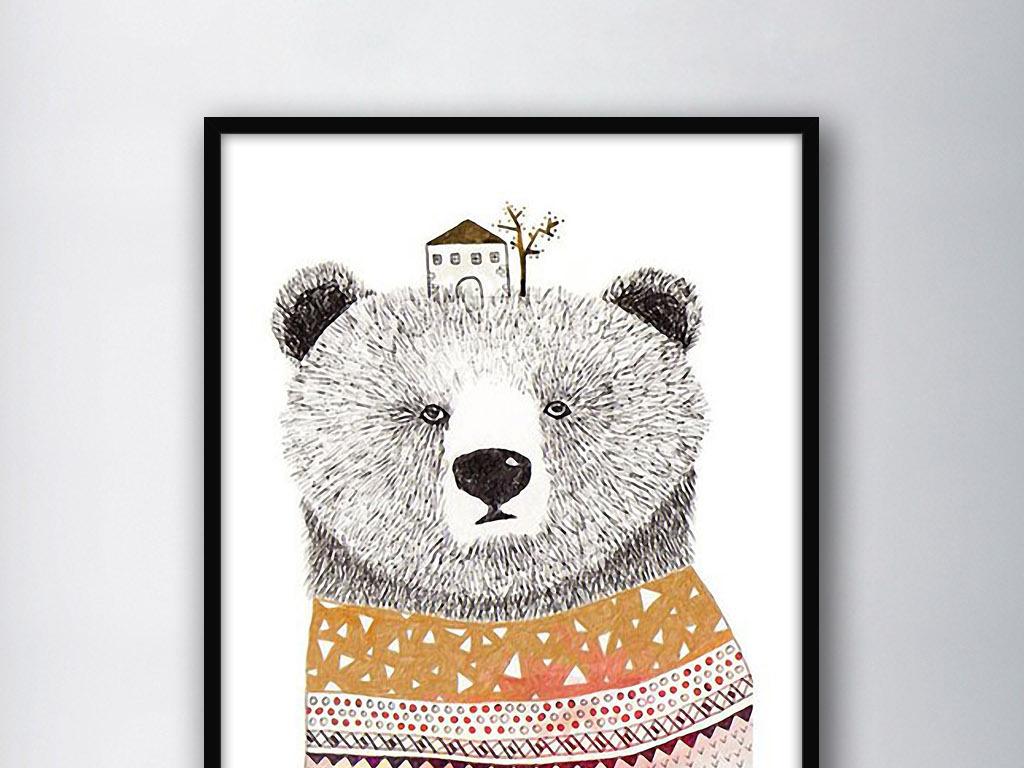 穿毛衣的熊现代北欧手绘欧式家居室内装饰画