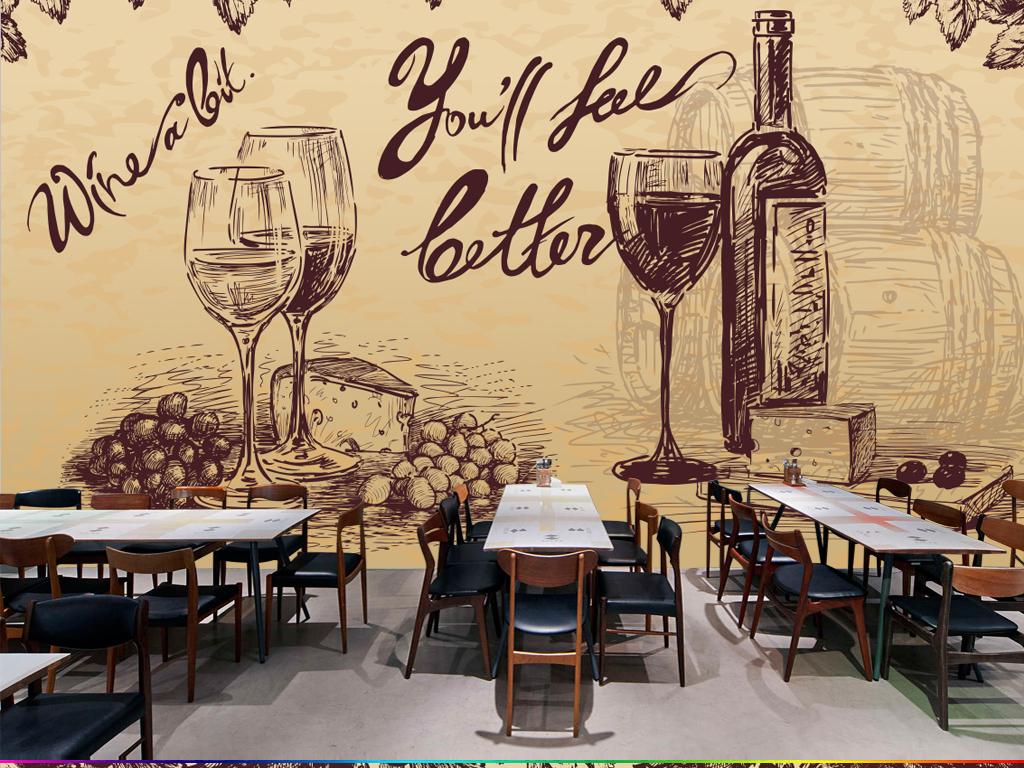手绘素描红酒酒庄壁画背景墙