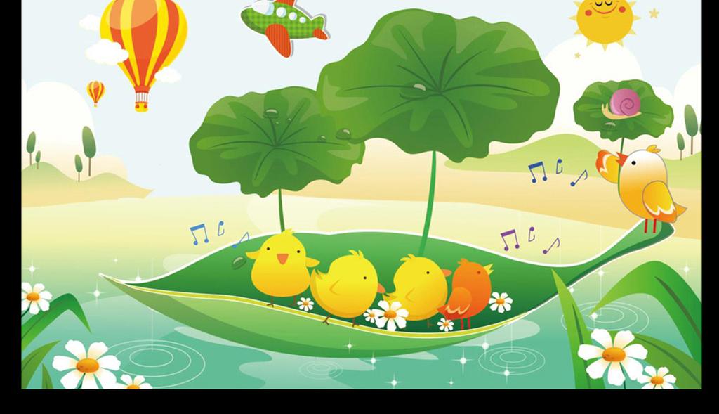 大树热气球火车卡通小孩爬树云花卉儿童嬉戏游乐场幼儿园男孩女孩儿童