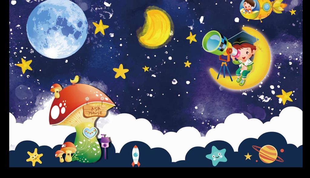 星星夜空卡通儿童房背景墙