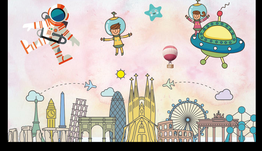 儿童高楼手绘图