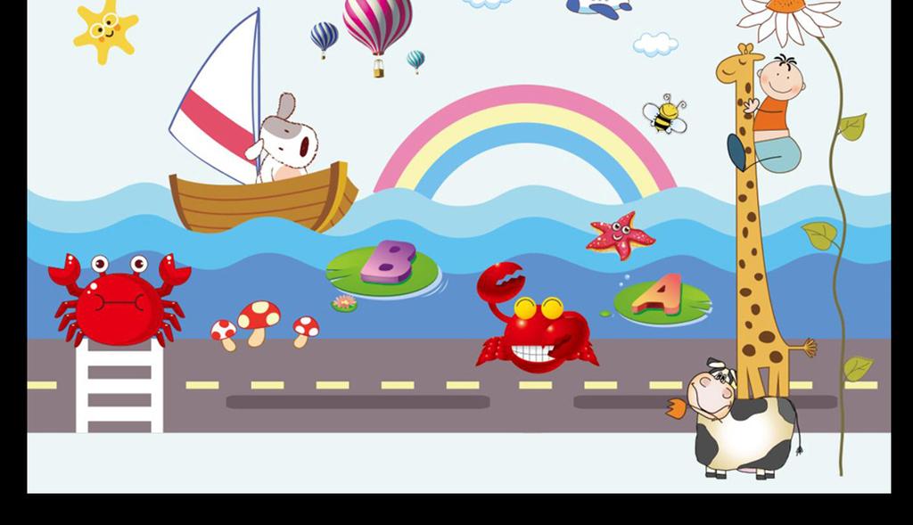 幼儿园男孩女孩儿童房壁纸儿童房背景墙热气球儿童乐园小船水上小船背图片