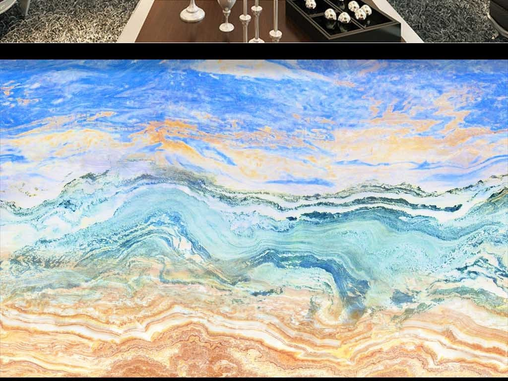 海纳百川大理石纹石材背景墙图片