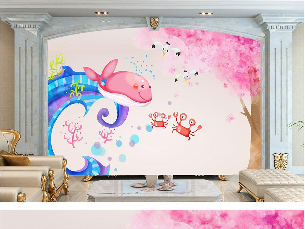 房背景儿童手绘手绘鲸鱼海浪矢量图海浪矢量矢量海浪海浪图案海浪图片