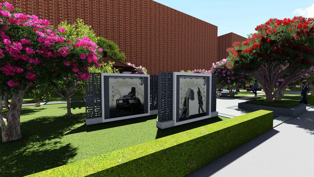 格式文件屋顶花园特色景观3d效果图亭廊花架铺装广场植物绿化户外景观