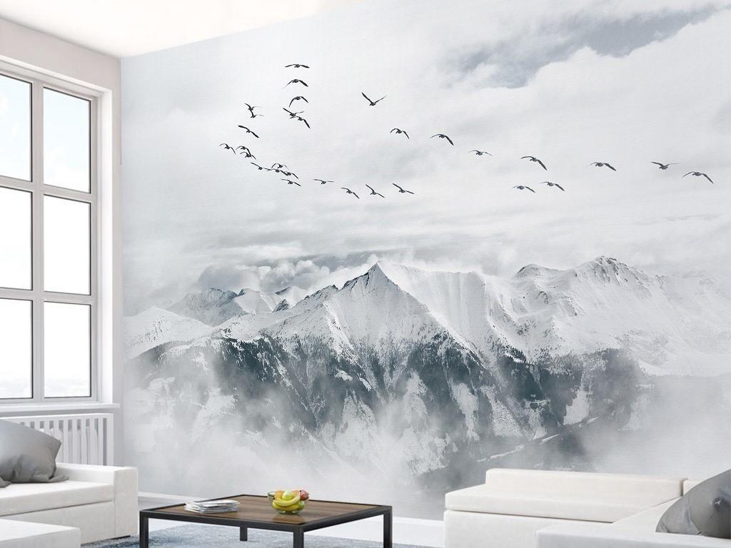 背景墙|装饰画 电视背景墙 客厅电视背景墙 > 北欧宜家极简飞鸟山川图片