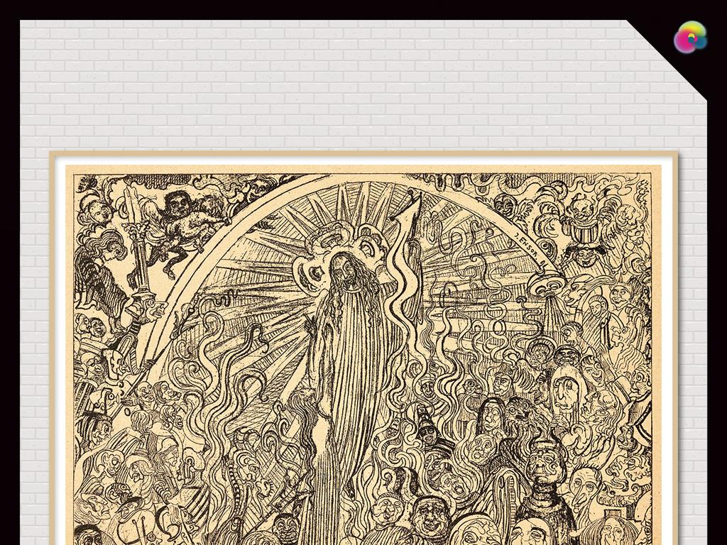手绘素描耶稣耶和华欧式人物油画装饰画