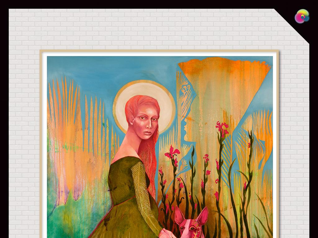 水彩画艺术人物美女动物手绘背景复古背景手绘人物手绘动物复古动物