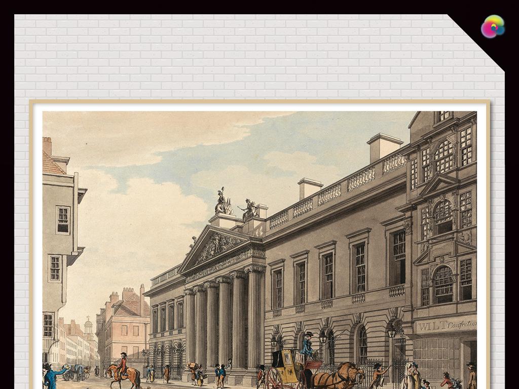 复古欧式手绘建筑怀旧复古背景墙背景画