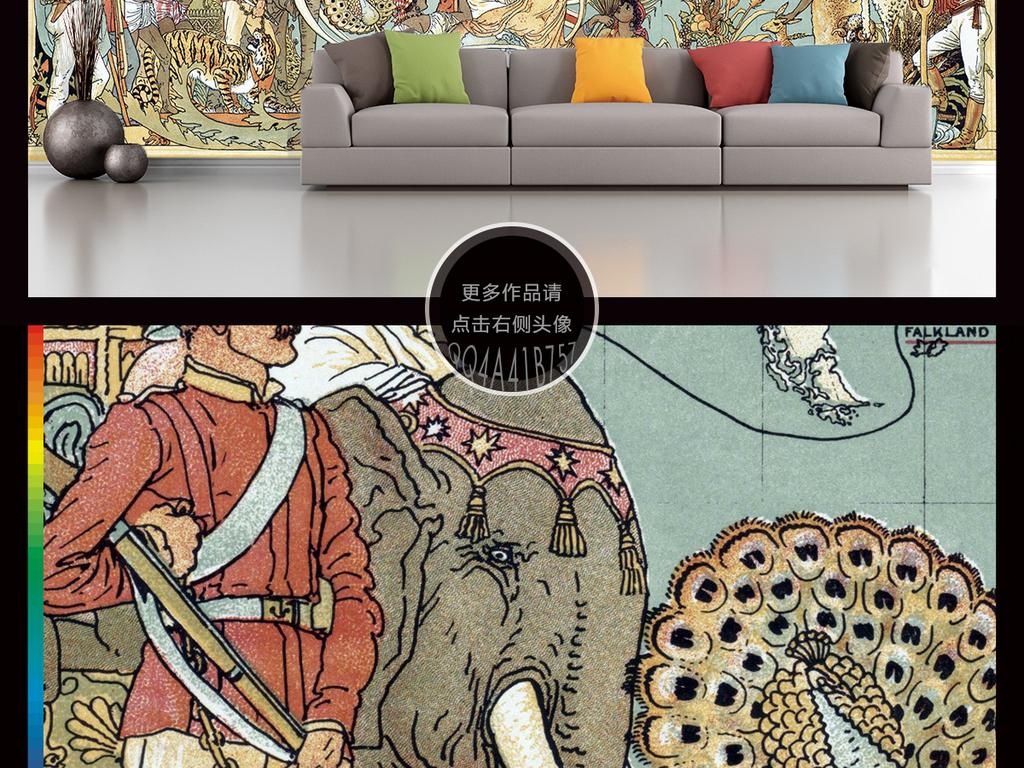 高清手绘世界地图航海图电视背景墙装饰画