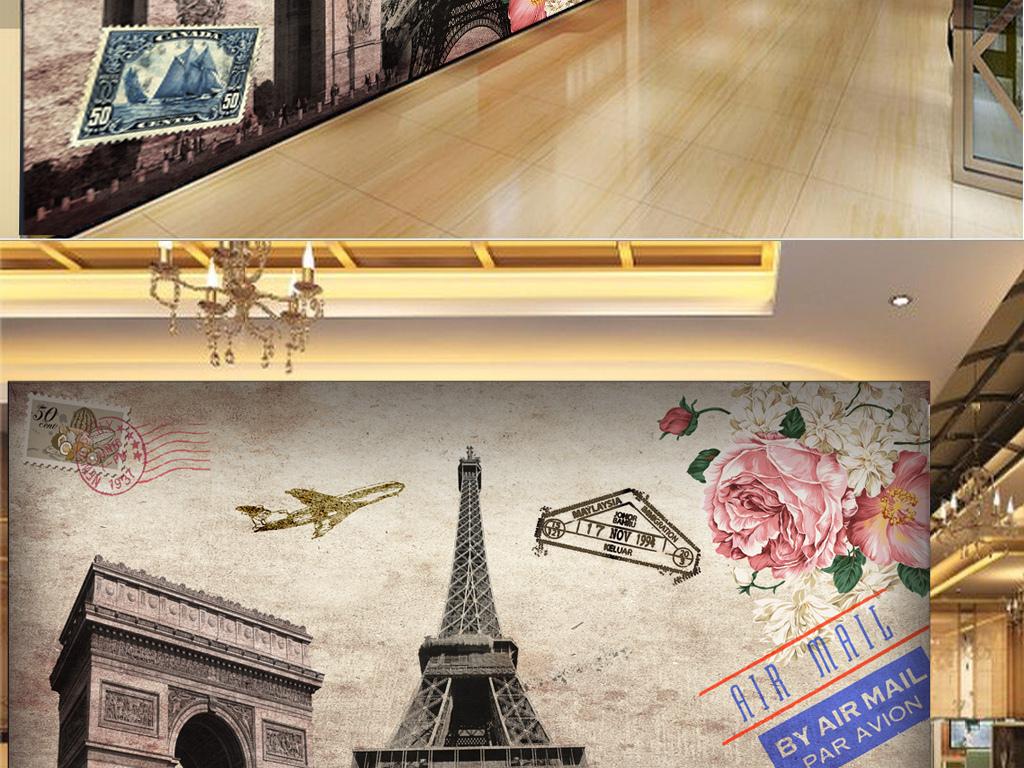 欧美油画凯旋门巴黎铁塔工装背景墙