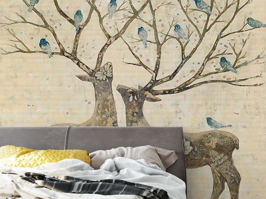 鹿角麋鹿手绘背景创意手绘麋鹿欧式背景手绘小鸟创意手绘手绘欧式创意