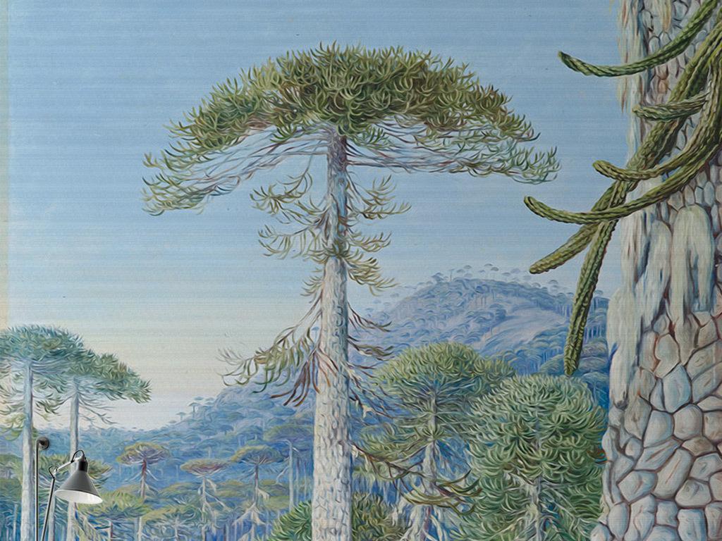 现代简约水彩手绘森系装饰画原始森林