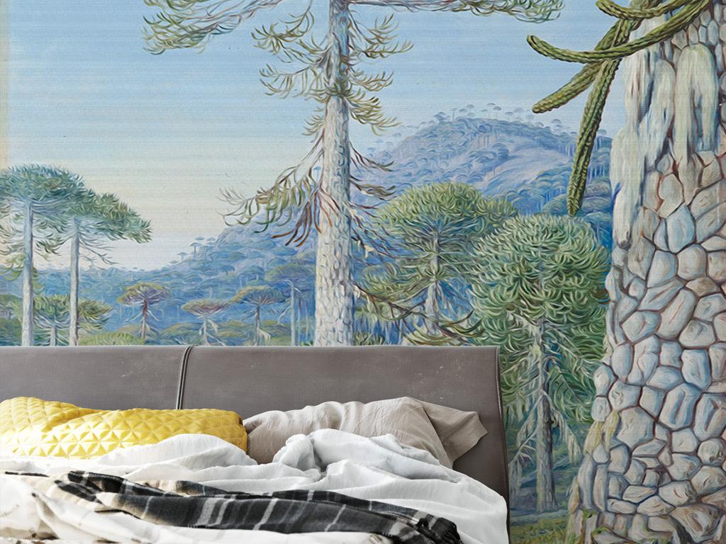 现代简约水彩手绘森系装饰画原始森林热带植物麋鹿