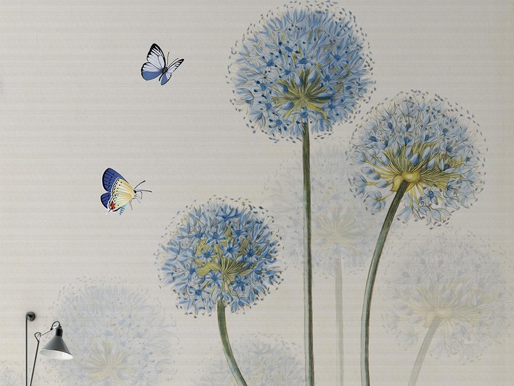 欧式手绘蓝色蒲公英蝴蝶背景墙
