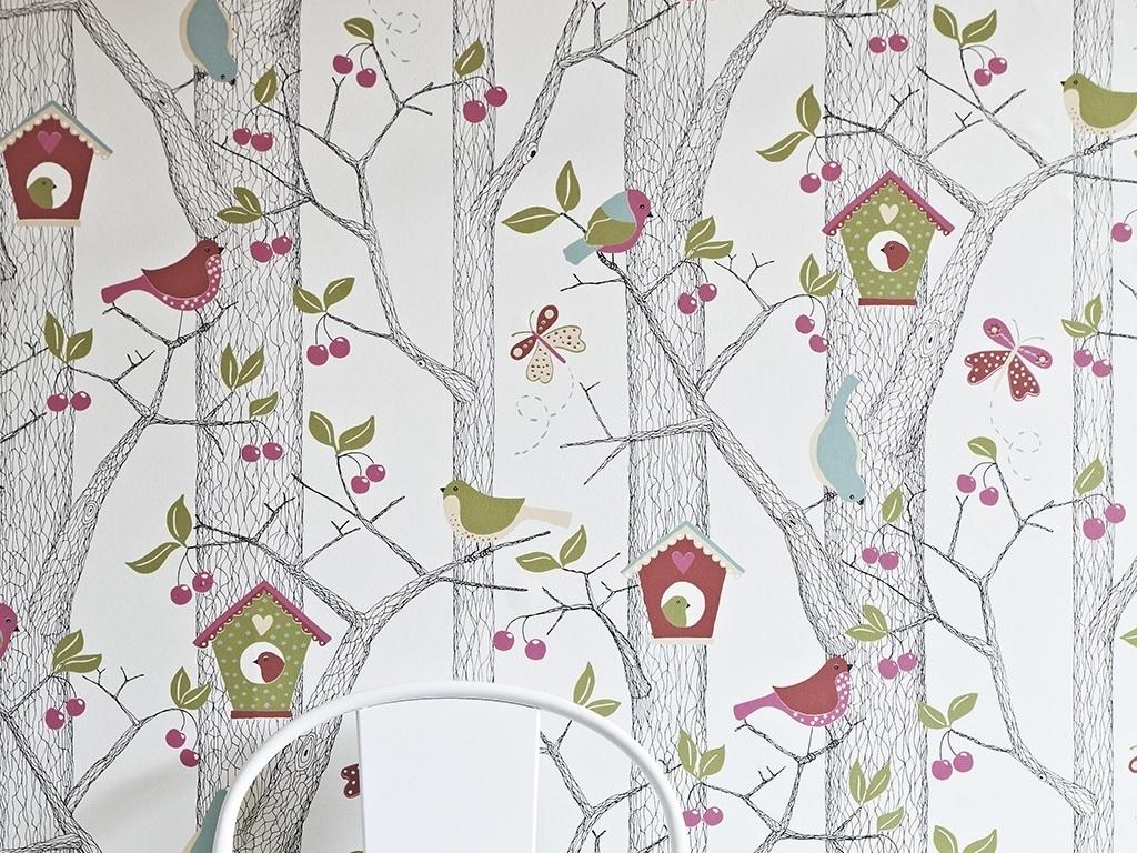树叶儿童房可爱樱桃简笔画线条手绘现代简约室内设计