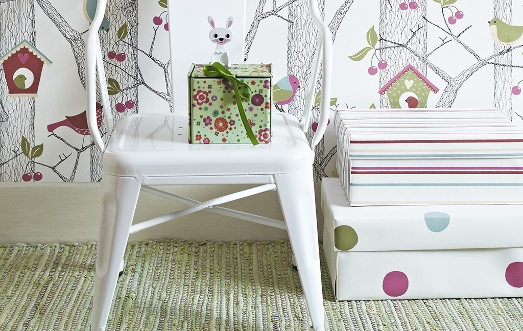 儿童房可爱樱桃简笔画线条手绘现代简约室内设计室内