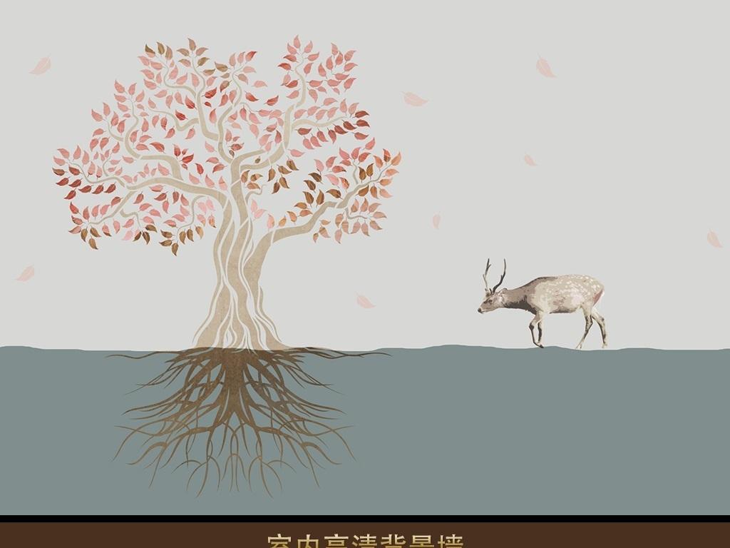 手绘树叶树大树树根透视鹿落叶意境简约北美北欧室内设计室内效果图