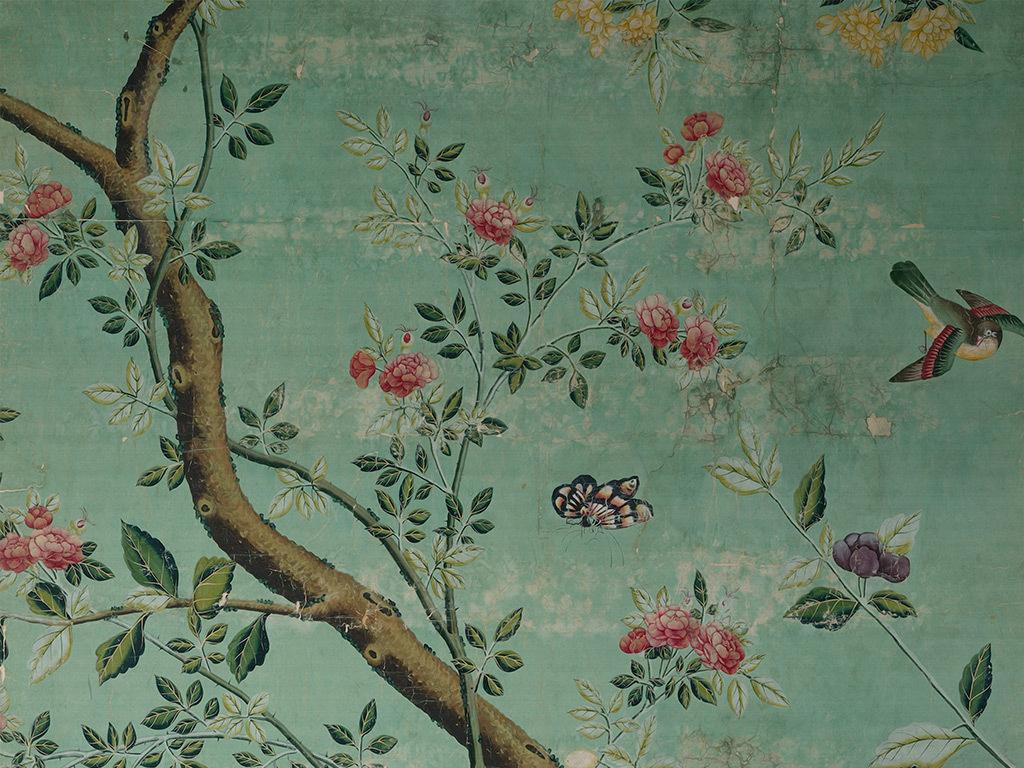 新中式工笔手绘花鸟背景墙