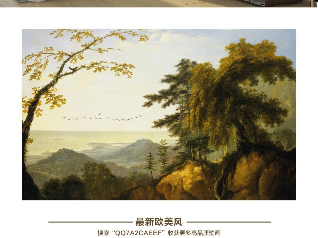 欧式复古手绘热带丛林山水风景怀旧背景墙