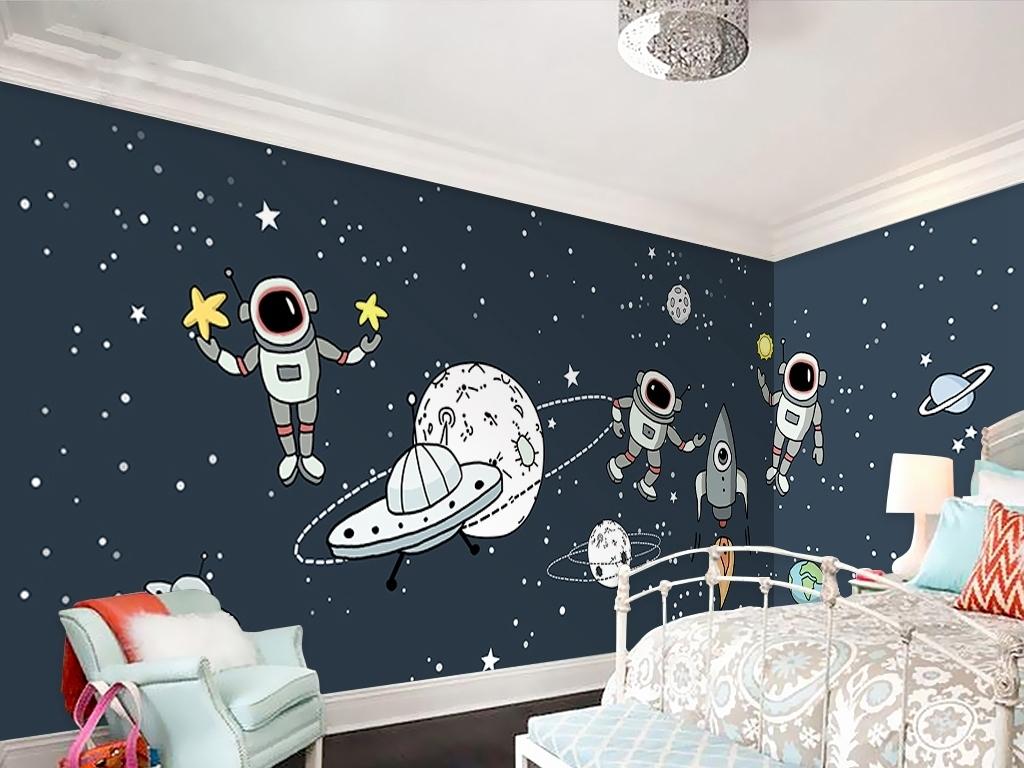 手绘太空星空儿童房背景墙装饰画图片