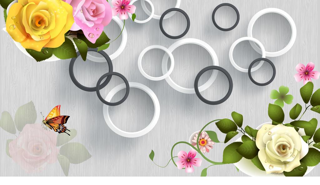 3d黑白立体圆圈手绘玫瑰花背景墙下载